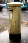 The Pillar box  was painted gold to honour the Leander Club's training of over 100 Olympic medallists